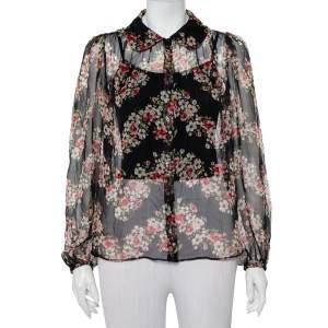 Dolce & Gabbana Black Floral Printed Silk Button Front Sheer Shirt M