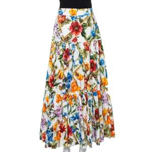 Dolce & Gabbana Multicolor Bamboo Printed Cotton Tiered Maxi Skirt M