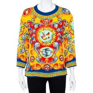 Dolce & Gabbana Multicolor Carretto Siciliano Printed Silk Oversized Top XS