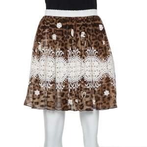 Dolce & Gabbana Brown Animal printed Silk & Lace Paneled Mini Skirt S
