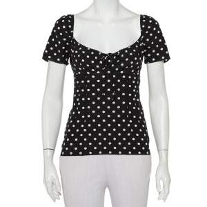 Dolce & Gabbana Monochrome Polka Dot Printed Silk Tie Detail Top S
