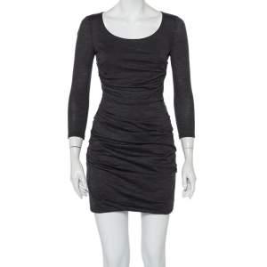 Dolce & Gabbana Charcoal Grey Knit Ruched Mini Dress M
