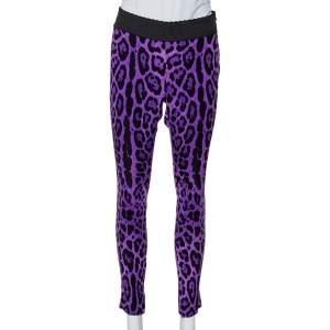 Dolce & Gabbana Purple Animal Printed Silk Trousers S