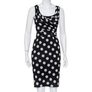 Dolce & Gabbana Monochrome Polka Dot Printed Silk Draped Sleeveless Midi Dress S