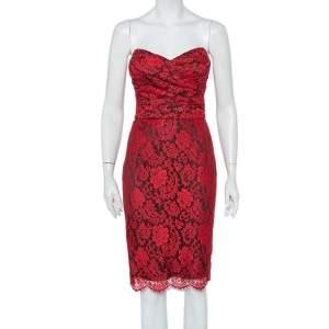 Dolce & Gabbana Red Lace Draped Strapless Mini Dress S