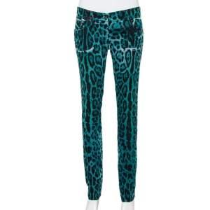 Dolce & Gabbana Green & Blue Animal Printed Denim Tapered Leg Jeans M