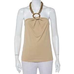 Dolce & Gabbana Beige Jersey Chunky Chain Halter Neck Cami Top M