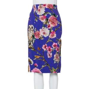 Dolce & Gabbana Purple Enchanted Forest Printed Crepe Pencil Skirt M