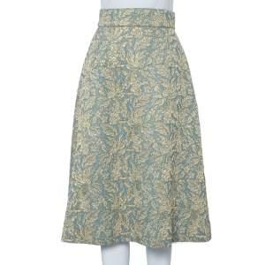 Dolce & Gabbana Green Metallic Floral Jacquard A-Line Midi Skirt M