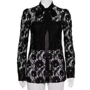 Dolce & Gabbana Black Lace Neck Tie Detail Shirt S
