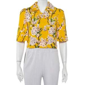 Dolce & Gabbana Yellow Almond Blossom Printed Jacquard Double Breasted Cropped Jacket S