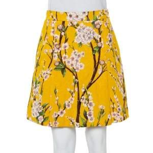 Dolce & Gabbana Yellow Almond Blossom Printed Jacquard Pleated Mini Skirt M