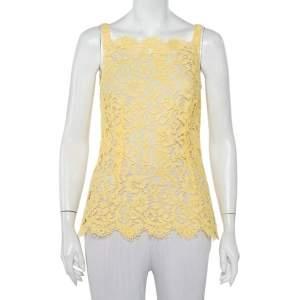 Dolce & Gabbana Yellow Lace Scallop Detail Sleeveless Top S