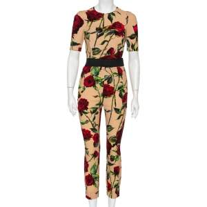 Dolce & Gabbana Beige Floral Printed Crepe Top & Tapered Leg Trousers S