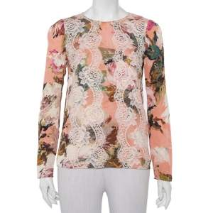 Dolce & Gabbana Pink Floral Printed Silk Lace Trim Top S