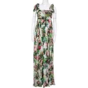 Dolce & Gabbana Vintage Multicolor Floral Printed Silk Waist Tie Detail Sleeveless Long Dress S