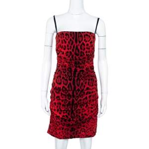 Dolce & Gabbana Red Animal Printed Ruched Sleeveless Dress S