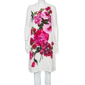 Dolce & Gabbana White Crepe Peony Printed Shift Dress M