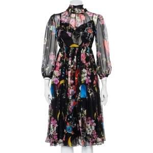 Dolce & Gabbana Black Space Printed Silk Neck Tie Detail Midi Dress M