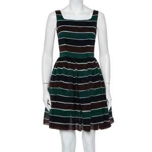 فستان ميني دولتشي أند غابانا حرير منقوش مخطط متعدد الألوان بطيات مقاس صغير - سمول