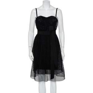 Dolce & Gabbana Black Cutwork Chiffon Bustier Detail Sleeveless Midi Dress XS