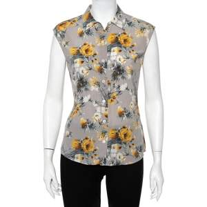 Dolce & Gabbana Grey Floral Printed Silk Sleeveless Shirt S