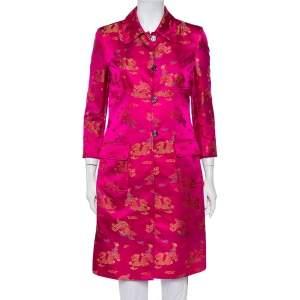 Dolce & Gabbana Vintage Pink Brocade Button Front Coat M