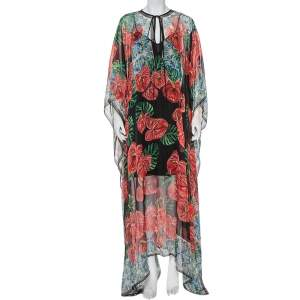 Dolce & Gabbana Multicolor Anthurium Printed Silk Kaftan Maxi Dress L
