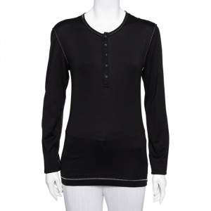 Dolce & Gabbana Black Cotton Long Sleeve T-Shirt L