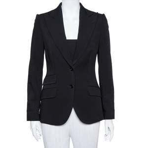 Dolce & Gabbana Black Wool Button Front Blazer S