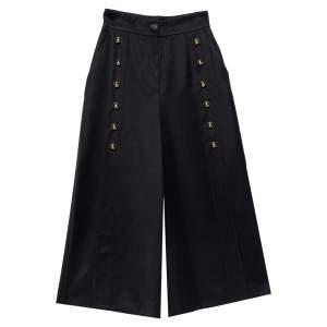 Dolce & Gabbana Black Wool Button Detail High Waist Culottes S