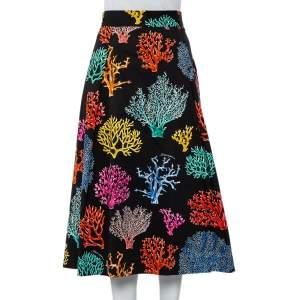 Dolce & Gabbana Black Coral Print Cotton Midi Skirt L