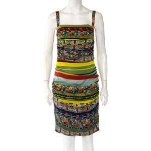 Dolce & Gabbana Multicolor Sicilian Warrior Stripe Printed Silk Ruched Sleeveless Mini Dress L
