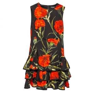 Dolce & Gabbana Black Floral Printed Cotton Ruffled Hem Sleeveless Mini Dress M