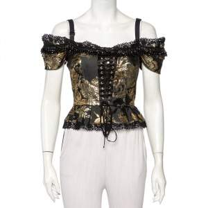 Dolce & Gabbana Black and Gold Jacquard Bead Detail Off Shoulder Corset Top S