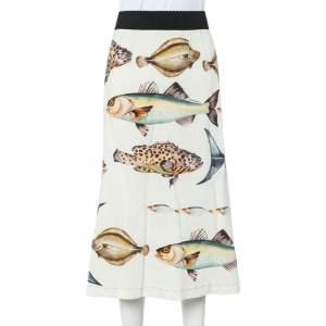 Dolce & Gabbana Cream Fish Printed Crepe A-Line Midi Skirt S