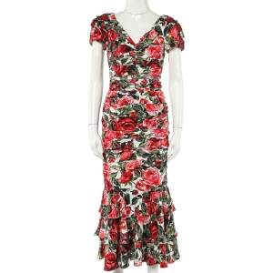 Dolce & Gabbana Multicolor Floral Printed Silk Crepe Ruched Midi Dress S