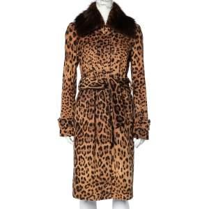 Dolce & Gabbana Brown Leopard Printed Corduroy Fur Collar Detail Coat M
