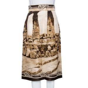 Dolce & Gabbana Beige Ancient Roman Print Silk Organza Midi Skirt S