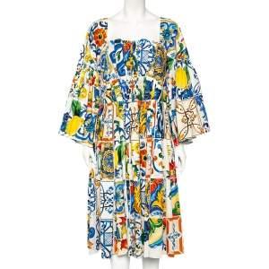 Dolce & Gabbana Multicolor Majolica Printed Cotton Pleated Neckline Flared Midi Dress L