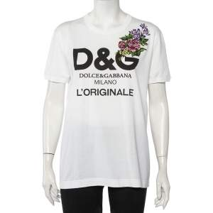 Dolce & Gabbana White Logo Printed Cotton Floral Applique Detail Crewneck T-Shirt L