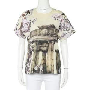 Dolce & Gabbana Cream Ancient Greece & Almond Blossom Printed Silk Top S