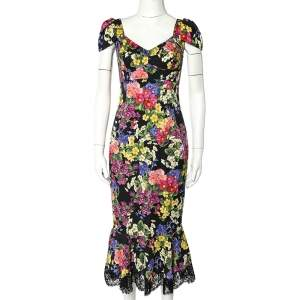 Dolce &Gabbana Black Fiorellini Printed Silk Lace Trim Bustier Detail Midi Dress S