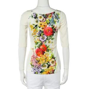 Dolce & Gabbana Cream Floral Printed Roundneck Top S