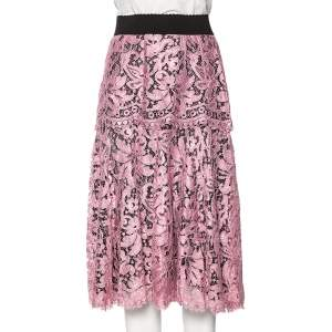 Dolce & Gabbana Black & Pink Corded Lace Midi Skirt S