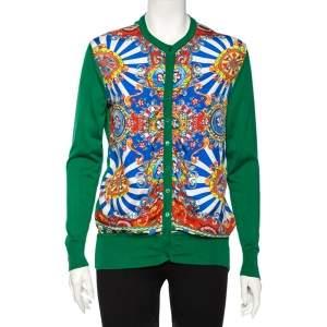 Dolce & Gabbana Green and Multicolor Silk Carretto Siciliano Print Cardigan S