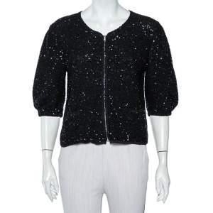 Dolce & Gabbana Black Sequin Embellished Knit Zip Front Jacket L