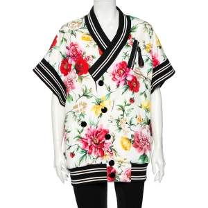 Dolce & Gabbana White Floral Printed Synthetic Contrast Trim Faux Wrap Bomber Jacket M