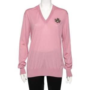 Dolce & Gabbana Pink Cashmere Bee Embroidered V-Neck Jumper S