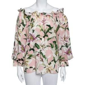 Dolce & Gabbana Pink Lily Printed Silk Ruffled Off Shoulder Gypsy Top M